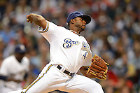 Milwaukee Brewers pitcher Alfredo Figaro #45 during a game against the Los Angeles Dodgers at Miller Park on May 22, 2013 in Milwaukee, Wisconsin.  Los Angeles defeated Milwaukee 9-2.  (Mike Janes/Four Seam Images)