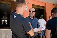 Roma, 13 Giugno, 2013. Padre Gaetano Greco, cappellano del carcere minorile di Casal del Marmo a Roma, parla con i ragazzi ospiti del suo centro di recupero per minori.