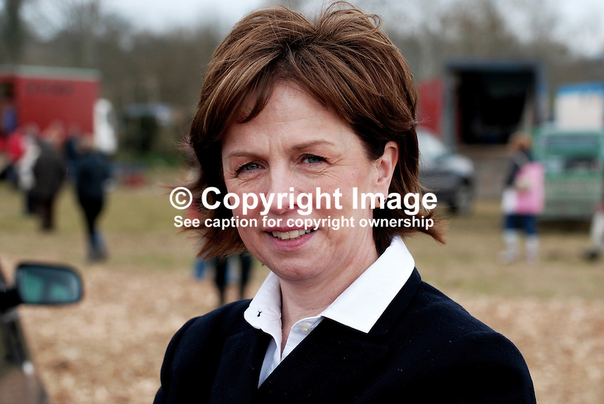 Diane Dodds, Democratic Unionist Party, candidate, June 09, European Elections, was one of a number of politicians, who attended the event to raise their profile. Taken 28 February 2009 at 95th annual ploughing match of Mullahead &amp; District Ploughing Society, Co Down, N Ireland, UK, 200902281911.<br />