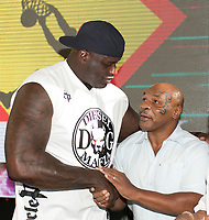 LAS VEGAS, NV - AUGUST 13: ***HOUSE COVERAGE*** Mike Tyson joins DJ Diesel aka Shaquille O'Neal at Rehab Beach Club at Hard Rock Hotel & Casino in Las vegas, NV on August 13 2017. Credit: GDP Photos/ MediaPunch