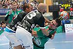 06.10.2019, Klingenhalle, Solingen,  GER, 1. HBL. Herren, Bergischer HC vs. TSV GWD Minden, <br /> <br /> im Bild / picture shows: <br /> MAGNUS GULLERUD (Minden #21), im Zweikampf gegen  Kristian Nippes (BHC #13), <br /> <br /> <br /> Foto © nordphoto / Meuter