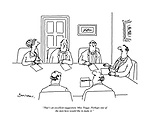 """""""That's an excellent suggestion, Miss Triggs. Perhaps one of the men here would like to make it."""" (a cartoon showing a sexist boardroom)"""