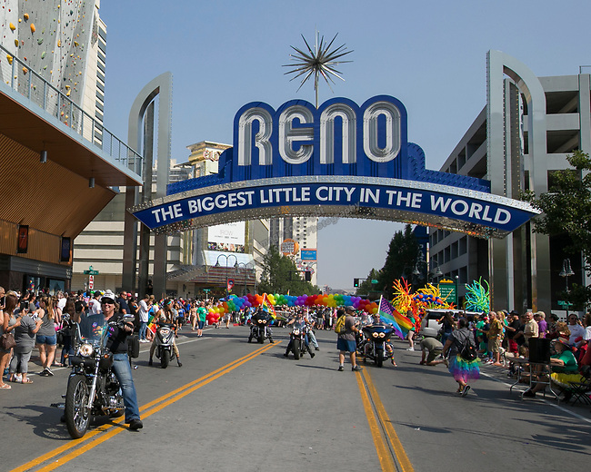Bernadette Ralston, left, rides her Harley during the Pride Parade in downtown Reno on Saturday, July 28, 2018.