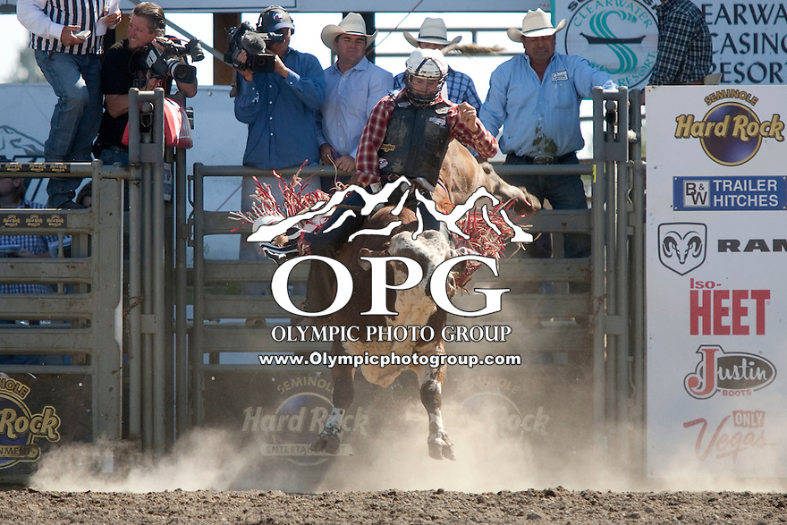 28 Aug 2011: Shawn Proctor scored a 85 while riding the bull Water Canal in the Seminole Hard Rock Extreme Bulls competition  held at the Kitsap County Fair and Stampede Rodeo in Bremerton, Washington.