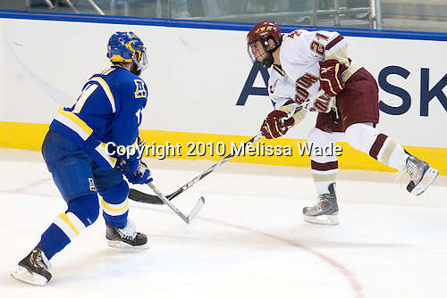 Joe Sova (Alaska-Fairbanks - 11), Steven Whitney (BC - 21) - The Boston College Eagles defeated the University of Alaska-Fairbanks Nanooks 3-1 (EN) in their NCAA Northeast Regional semi-final on Saturday, March 27, 2010, at the DCU Center in Worcester, Massachusetts.