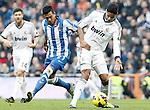 Real Madrid's Raphael Varane (r) and Real Sociedad's Diego Ifran during La Liga match.January 06,2013. (ALTERPHOTOS/Acero)