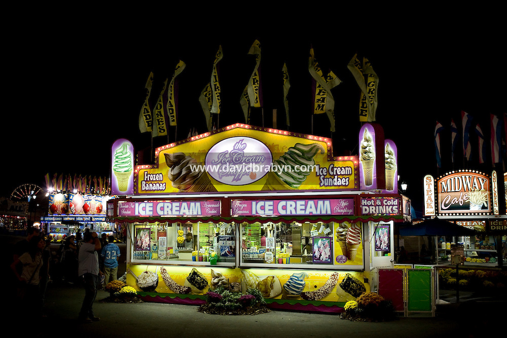View of a food vendor stand selling ice cream at the North Carolina State Fair in Raleigh, NC, United States, 16 October 2008.