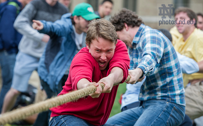 Apr 28, 2014; Zahm vs. St. Eds compete in the Residence Hall tug of war challenges on the North Quad as part of Notre Dame Day. Zahm won the competition. Photo by Barbara Johnston/University of Notre Dame