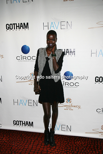 Model Nykhor Paul (new face of Louis Vuitton) Attends Seth Meyers at Gotham magazine's 'The Men's Issue' release party at The Sanctuary Hotel powered by CÎROC Vodka, NY