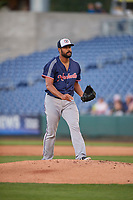Pedro Payano (39) of the Nashville Sounds walks to the mound against the Reno Aces at Greater Nevada Field on June 5, 2019 in Reno, Nevada. The Aces defeated the Sounds 3-2. (Stephen Smith/Four Seam Images)