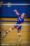 27 October 2013: Yeshiva University Maccabee Outside Hitter Makena Owens, a Sophomore from Sammamish, WA, in action during a Skyline Conference game against the Purchase College Panthers at the College of Mount Saint Vincent in Riverdale, NY. The Panthers defeated the Maccabees 3-0 in NCAA women's volleyball play. Mandatory Credit: Ed Wolfstein Photo *** RAW (NEF) Image File Available ***
