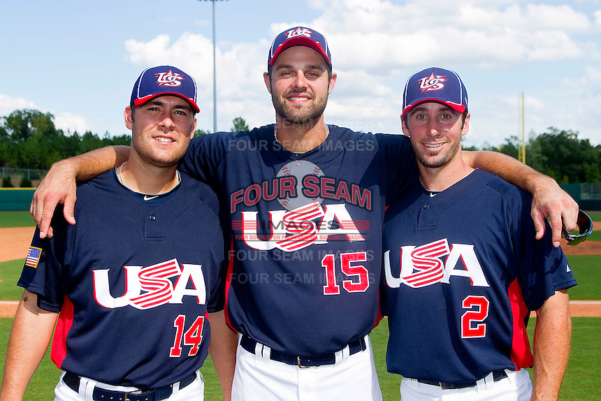 (L-R) Teammates Justin Cassel #14, Jordan Danks #15 and Andrew Garcia #2 pose for a photo at the USA Baseball National Training Center on September 29, 2011 in Cary, North Carolina.  All three men played together for the Charlotte Knights in 2011, Triple A affiliate of the Chicago White Sox.  (Brian Westerholt / Four Seam Images)