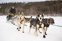 Jeff King runs down the Yukon River after leaving Ruby on Friday during Iditarod 2008