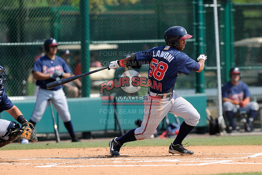 Infielder Emerson Landoni (58) of the Atlanta Braves farm system in a Minor League Spring Training intrasquad game on Wednesday, March 18, 2015, at the ESPN Wide World of Sports Complex in Lake Buena Vista, Florida. (Tom Priddy/Four Seam Images)