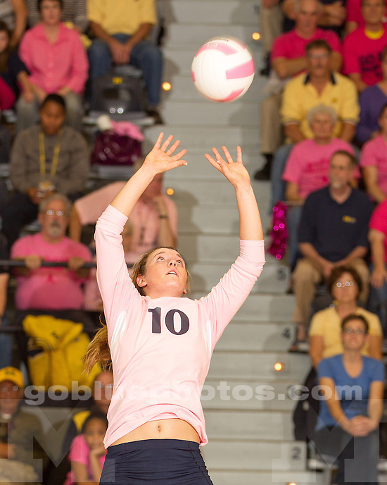 The University of Michigan volleyball team lost to Michigan State, 3-0, during the annual Pink Match at Cliff Keen Arena on October 17, 2012.