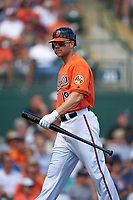 Baltimore Orioles designated hitter Chris Davis (19) walks back to the dugout during a Spring Training game against the Minnesota Twins on March 7, 2016 at Ed Smith Stadium in Sarasota, Florida.  Minnesota defeated Baltimore 3-0.  (Mike Janes/Four Seam Images)