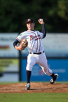 Danville Braves starting pitcher Joey Wentz (16) in action against the Pulaski Yankees at American Legion Post 325 Field on August 1, 2016 in Danville, Virginia.  The Yankees defeated the Braves 4-1.  (Brian Westerholt/Four Seam Images)