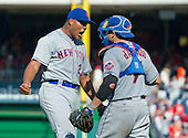 New York Mets relief pitcher Jeurys Familia (27) and New York Mets catcher Travis d'Arnaud (7) celebrate their team's 8-5 victory over the Washington Nationals at Nationals Park in Washington, D.C. on Monday, September 7, 2015.  <br /> Credit: Ron Sachs / CNP<br /> (RESTRICTION: NO New York or New Jersey Newspapers or newspapers within a 75 mile radius of New York City)