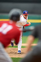 Buffalo Bisons pitcher Chad Jenkins (64) follows through on a pitch during a game against the Columbus Clippers on July 19, 2015 at Coca-Cola Field in Buffalo, New York.  Buffalo defeated Columbus 4-3 in twelve innings.  (Mike Janes/Four Seam Images)
