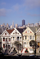 City; Victorian home; skyline; park; Alamo Square; walking dog;. San Francisco California.