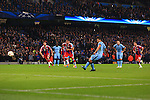 Sergio Aguero of Manchester City scores the opening goal - Manchester City vs. Bayern Munich - UEFA Champion's League - Etihad Stadium - Manchester - 25/11/2014 Pic Philip Oldham/Sportimage