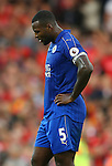 Wes Morgan of Leicester City dejected during the Premier League match at Anfield Stadium, Liverpool. Picture date: September 10th, 2016. Pic Simon Bellis/Sportimage