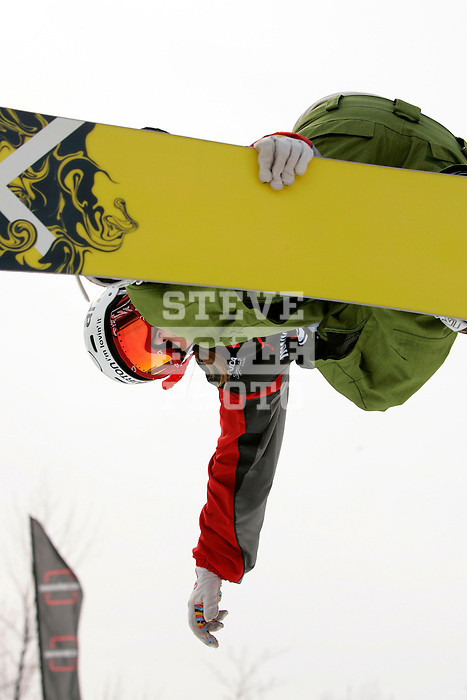 Paulina Ligocka (POL) competes in the finals of the Nokia Snowboard FIS Half-Pipe World Cup at Whiteface Mountain in Lake Placid, New York on March 10, 2007.