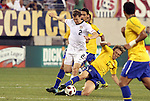10 AUG 2010: Lucas (BRA) (5) tackles the ball away from Jonathan Spector (USA) (2). The United States Men's National Team lost to the Brazil Men's National Team 0-2 at New Meadowlands Stadium in East Rutherford, New Jersey in an international friendly soccer match.