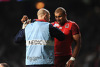 Injury concern for Jonathan Joseph of England during Match 1 of the Rugby World Cup 2015 between England and Fiji - 18/09/2015 - Twickenham Stadium, London <br /> Mandatory Credit: Rob Munro/Stewart Communications