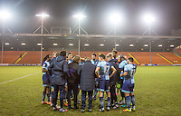 The Wycombe players talk through penalty takers before the shootout during the The Checkatrade Trophy match between Blackpool and Wycombe Wanderers at Bloomfield Road, Blackpool, England on 10 January 2017. Photo by Andy Rowland / PRiME Media Images.