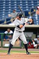 Tampa Yankees outfielder Jake Cave (18) at bat during a game against the Clearwater Threshers on June 26, 2014 at Bright House Field in Clearwater, Florida.  Clearwater defeated Tampa 4-3.  (Mike Janes/Four Seam Images)