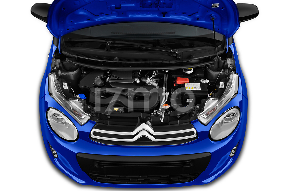 Car stock 2018 Citroen C1 Feel 5 Door Hatchback engine high angle detail view