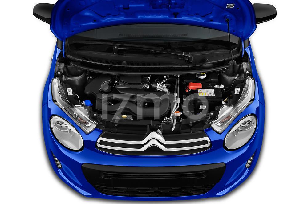 Car stock 2018 Citroen C1 Feel 5 Door Hatchback engine high angle detail view