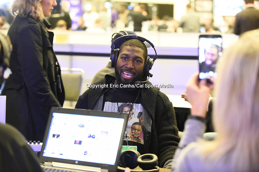 Friday, February 5, 2016: Miami Dolphins wide receiver Greg Jennings is interviewed for a morning radio program at the Moscone Center in San Francisco, California during the National Football League week long opening celebrations for Super Bowl 50 between the Carolina Panthers and the Denver Broncos. Eric Canha/CSM
