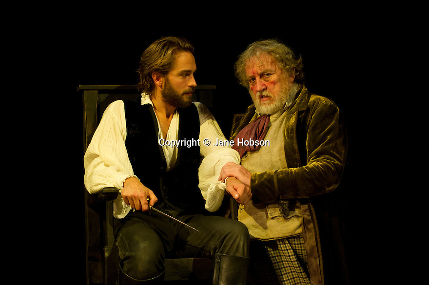 "Bath, Avon, UK. 25/07/2011. ""Henry IV, Part I"", part of the Peter Hall season at Theatre Royal Bath. Tom Mison as Prince Hal and Desmond Barrit as Sir John Falstaff. Photo credit: Jane Hobson"
