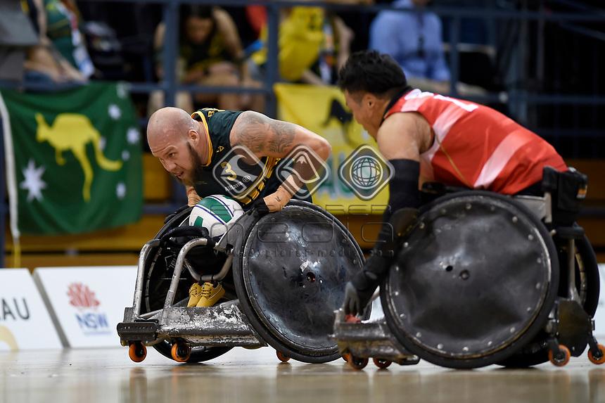 Ryley Batt (AUS) vs Japan<br /> Australian Wheelchair Rugby Team<br /> 2018 IWRF WheelChair Rugby <br /> World Championship / Finals<br /> Sydney  NSW Australia<br /> Friday 10th August 2018<br /> © Sport the library / Jeff Crow / APC