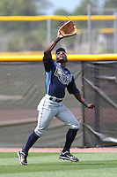 Tampa Bay Rays outfielder Deshun Dixon #36 during an extended spring training game against the Baltimore Orioles at the Charlotte County Sports Park on April 28, 2012 in Port Charlotte, Florida.  (Mike Janes/Four Seam Images)