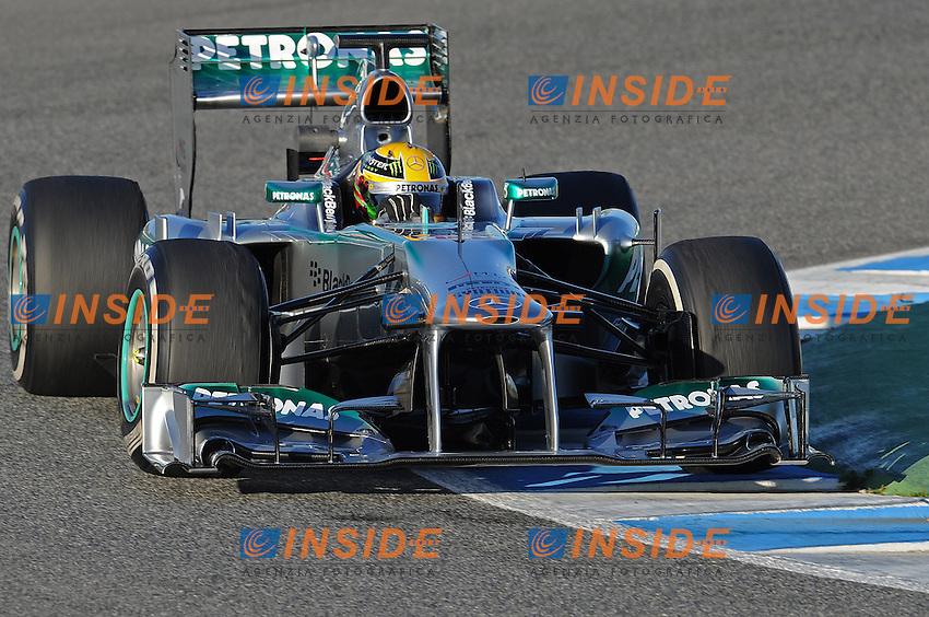 Formule 1: Test  Jerez 06/02/2013.LEWIS HAMILTON (GBR) - MERCEDES F1W04 - ACTION  .Jerez 06/02/2013 .Formula 1 2013 Test.Foto Gilles Levent / Panoramic / Insidefoto .ITALY ONLY
