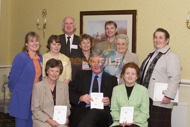 Brianan McHugh, (Front Left) Drogheda Samaritans with Dr. Ambrose McLoughlin, CEO of the NEHB and Bridget Smith, St. Vincent de Paul. (Back L-R) Roisin Lowry, Mental Health Promotions Officer, Margaret McKenna, Assistant CNO St. Davnet's Hospital, Monaghan, Pat Black, Chief Nursing Officer, St. Brigid's Hospital, Ardee, Maureen Caffrey, Care of the Elderly, Navan, Paul O'Hare, External relations Manager The Samaritans, Mary Carolan, Leinster Vice President ICA and Rev. Eileen Armstrong at the launch of the Directory of Social Supports held in the Conyngham Arms, Slane.