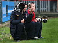 Gemma Davison of Arsenal (R) gets some photo tips from the Arsenal club photographer - Arsenal Ladies vs Sparta Prague - UEFA Women's Champions League at Boreham Wood FC - 11/11/09 - MANDATORY CREDIT: Gavin Ellis/TGSPHOTO - Self billing applies where appropriate - Tel: 0845 094 6026