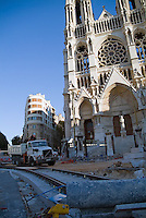 Tramway under construction on the boulevard of La Canebiere in 2006, Marseille, France.