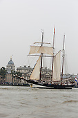 London, UK. 6 September 2014. Three-masted topsail schooner Oosterschelde at Maritime Greenwich. Tall Ships sailing on the River Thames on the second day of the Royal Greenwich Tall Ships Festival 2014.