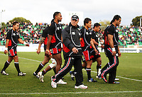 Counties coach Milton Haig takes his team in before kick-off during the Air NZ Cup rugby match between Manawatu Turbos and Counties-Manukau Steelers at FMG Stadium, Palmerston North, New Zealand on Sunday, 2 August 2009. Photo: Dave Lintott / lintottphoto.co.nz