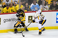 May 29, 2017: Nashville Predators defenseman Roman Josi (59) fights to free the puck from Pittsburgh Penguins left wing Conor Sheary (43) during game one of the National Hockey League Stanley Cup Finals between the Nashville Predators  and the Pittsburgh Penguins, held at PPG Paints Arena, in Pittsburgh, PA. Pittsburgh defeats Nashville 5-3 in regulation time.  Eric Canha/CSM