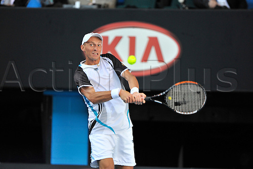27 January 2010, 2010 Australian Open Tennis, day 10, Melbourne, Australia. Roger FEDERER (sui) vs Nikolay DAVYDENKO in the quarter finals. Nikolay DAVYDENKO in action. Photo by Peter Blakeman/Actionplus.