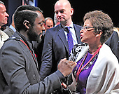 Valerie Jarrett, right, shares some thoughts with will.i.am, left, prior to the first Presidential Debate of the 2012 General Election between United States President Barack Obama, the Democratic Party nominee for President, and former Massachusetts Governor Mitt Romney, the Republican Party nominee for President, at the University of Denver in Denver, Colorado on Tuesday, October 2, 2012..Credit: Ron Sachs / CNP.(RESTRICTION: NO New York or New Jersey Newspapers or newspapers within a 75 mile radius of New York City)