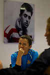 Doncaster Rovers Belles 1 Chelsea Ladies 4, 20/03/2016. Keepmoat Stadium, Womens FA Cup. Becky Easton and Natasha Dowie of Doncaster Rovers Belles discussing the teams return to the top flight of Womens football, during a Doncaster Rovers Belles media day at The Keepmoat Stadium. Photo by Paul Thompson.
