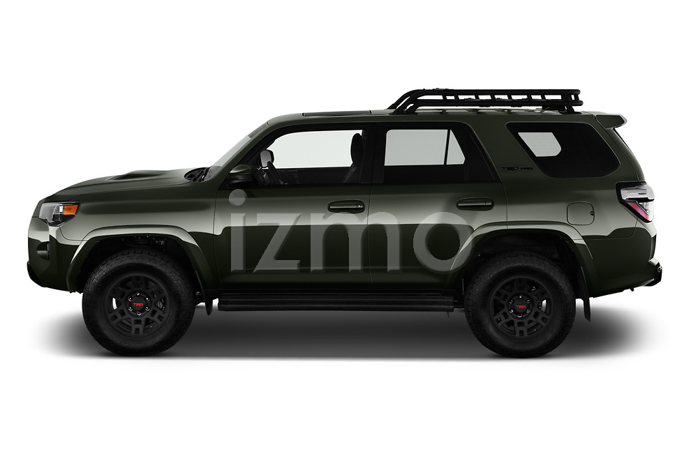 Car Driver side profile view of a 2020 Toyota 4Runner TRD-Pro 5 Door SUV Side View