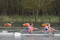 Caversham. Berkshire. UK<br /> Women's pair, Emily FORD and Nicole LAMB, competing in the  2016 GBRowing U23 Trials at the GBRowing Training base near Reading, Berkshire.<br /> <br /> Monday  11/04/2016 <br /> <br /> [Mandatory Credit; Peter SPURRIER/Intersport-images]