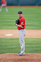 New Hampshire Fisher Cats relief pitcher Zach Jackson (12) looks in for the sign during a game against the Erie SeaWolves on June 20, 2018 at UPMC Park in Erie, Pennsylvania.  New Hampshire defeated Erie 10-9.  (Mike Janes/Four Seam Images)